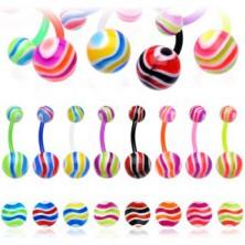 Piercing do pupíku - barevné vlnky