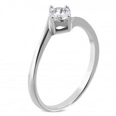 0c422e27f Zásnubní prsten z chirurgické oceli, zahnuté konce ramen, čirý zirkon M12.05