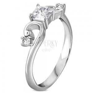 12eded166 Prsten z oceli 316L stříbrné barvy, zirkonový čtvereček, zatočená ramena