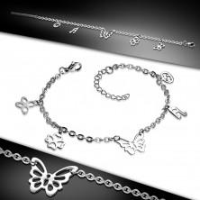 Ocelový řetízek na ruku nebo nohu, motýlek a čtyři menší přívěsky