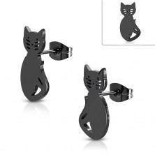 Černé náušnice z chirurgické oceli, kočka s výřezy na obličeji