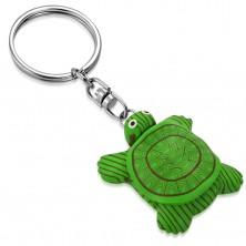 Klíčenka - zelená FIMO želva s černobílýma očima, magnet