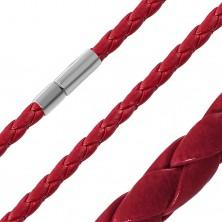 Červený náhrdelník ze syntetické kůže s pleteným vzorem