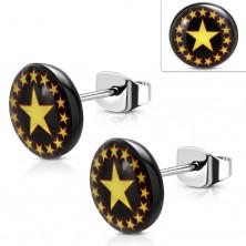 Ocelové náušnice, černý kruh se žlutočervenými hvězdami, puzetky