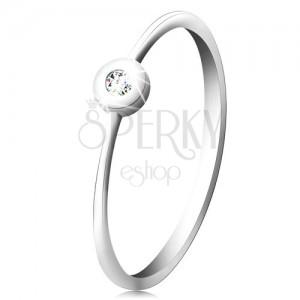 Prsten v bílém 14K zlatě - blýskavý čirý briliant v lesklé objímce, úzká ramena