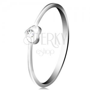 Diamantový prsten z bílého 14K zlata - srdíčko s čirým briliantem