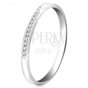 Briliantový prsten z bílého 14K zlata - blýskavá linie drobných čirých diamantů