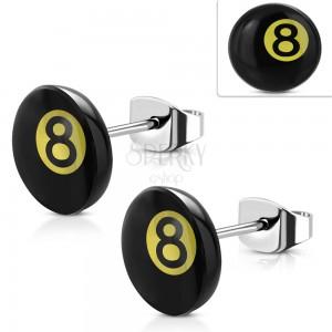 Náušnice z chirurgické oceli, magická kulečníková koule číslo 8- černá a žlutá barva