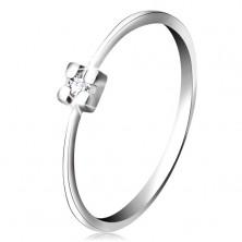 Prsten v bílém 14K zlatě - diamant čiré barvy v hranatém kotlíku