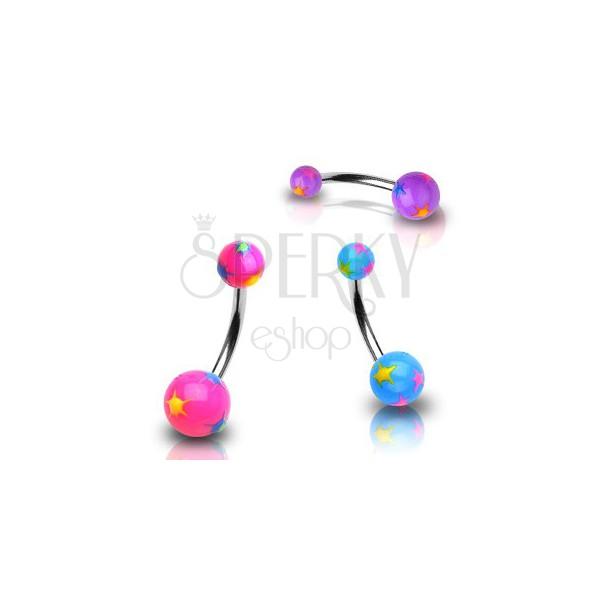 Piercing do pupíku různobarevné hvězdičky