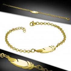 Náramek z chirurgické oceli zlaté barvy, lesklý řetízek, pírko