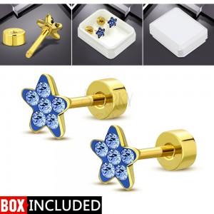 Ocelové šroubovací náušnice zlaté barvy, blýskavý kvítek z modrých zirkonů