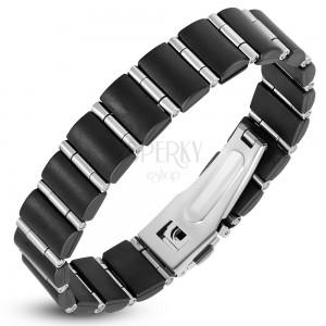 Ocelovo-pryžový náramek, černé obdélníky a úzké válečky stříbrné barvy