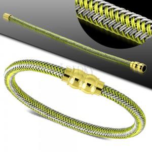 Zeleno-šedý náramek, pletený vzor, magnetické zapínání zlaté barvy
