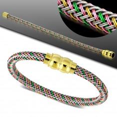 Náramek s barevným pleteným vzorem, magnetické zapínání zlaté barvy