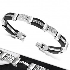 Ocelovo-pryžový náramek, vícedílné ocelové a černé pryžové články