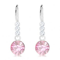 Stříbrné náušnice 925, krystaly Swarovski čiré a světle růžové barvy