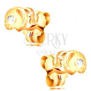 Zlaté 14K náušnice s puzetkami - malý slon s čirým zirkonem