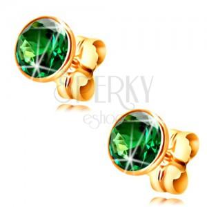 Zlaté náušnice 585 - kulatý smaragdově zelený zirkon v objímce, 5 mm