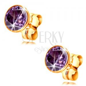 Zlaté 14K náušnice - kulatý zirkon tmavě fialové barvy v objímce, 5 mm
