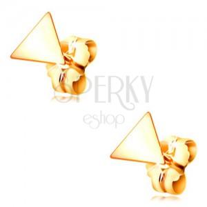 Náušnice ve žlutém zlatě 585 - lesklý plochý trojúhelník, puzetové zapínání