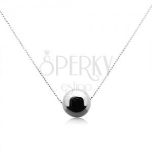 Stříbrný 925 náhrdelník s lesklou šedočernou kuličkou z hematitu