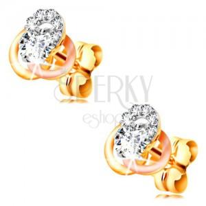 Zlaté 14K náušnice - trojbarevný uzel z kroužků, kulaté čiré zirkony