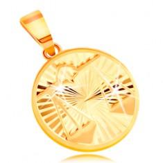 Zlatý 14K přívěsek - paprskovitě uspořádané zářezy, znamení VÁHY GG211.43