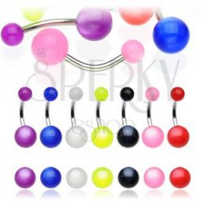 Piercing do pupíku - barevná kulička s duhovým efektem