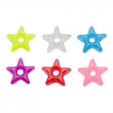Přívěsek na piercing - barevná akrylová hvězdička