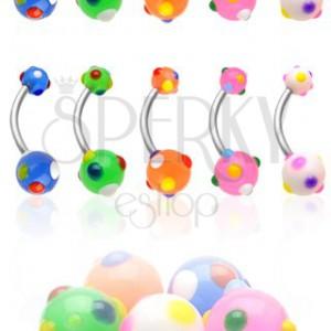 Piercing do pupíku vícebarevné tečky