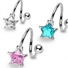 Ocelový piercing do obočí - spirálka s pěticípou zirkonovou hvězdou