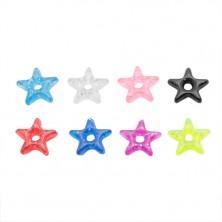 Přívěsek na piercing - barevná akrylová hvězdička s třpytkami