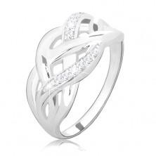 Stříbrný prsten 925, propletené hladké a zirkonové linie, vysoký lesk