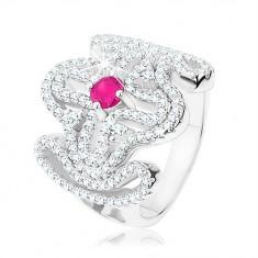 Mohutný prsten, stříbro 925, čirý zirkonový kříž, růžový zirkon uprostřed