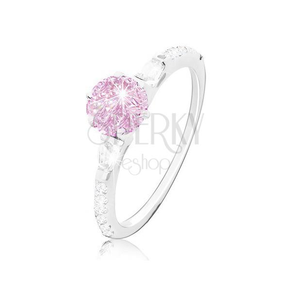 Zásnubní prsten, stříbro 925, kulatý růžový zirkon, třpytivá ramena