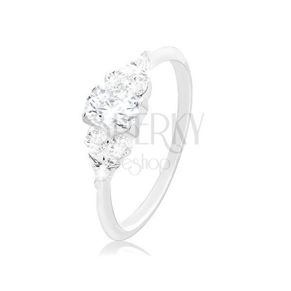 Zásnubní prsten, stříbro 925, větší čirý zirkon uprostřed a menší po stranách