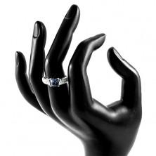 Prsten ze stříbra 925, modrý zirkonový čtverec, vypouklá třpytivá ramena