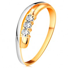 Briliantový prsten ve 18K zlatě, zvlněné dvoubarevné linie ramen, tři čiré diamanty