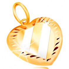 Zlatý přívěsek 14K - srdce se šikmými pásy z bílého zlata, zářezy po obvodu GG211.51