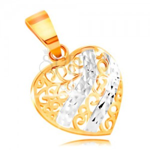 Zlatý přívěsek 585 - vypouklé srdce zdobené filigránem a vlnkami z bílého zlata