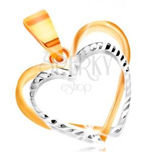 Přívěsek ze 14K zlata - dvě tenké kontury srdcí ze žlutého a bílého zlata, zářezy