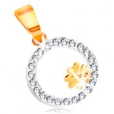 Přívěsek z kombinovaného 14K zlata - čtyřlístek v kroužku z čirých zirkonů GG211.58