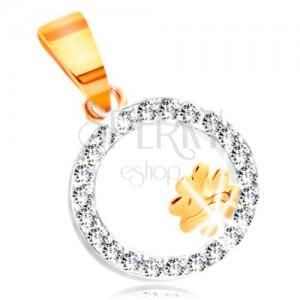 Přívěsek z kombinovaného 14K zlata - čtyřlístek v kroužku z čirých zirkonů