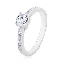 Zásnubní prsten ze stříbra 925, kulatý čirý zirkon, tenká zirkonová ramena