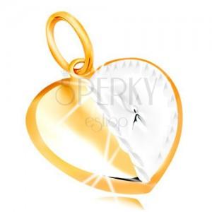 Přívěsek ve 14K zlatě - dvoubarevné srdíčko s hvězdičkou a zářezy