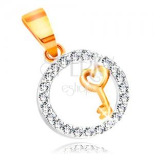 Přívěsek ze zlata 585 - klíček se srdíčkem v kroužku z čirých zirkonů