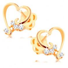Briliantové náušnice ze 14K zlata - lesklá kontura srdce, čiré diamanty BT503.51