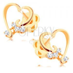 Briliantové náušnice ze 14K zlata - lesklá kontura srdce, čiré diamanty
