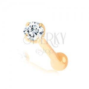 Rovný piercing do nosu ve žlutém 14K zlatě - zářivý čirý briliant, 1,3 mm